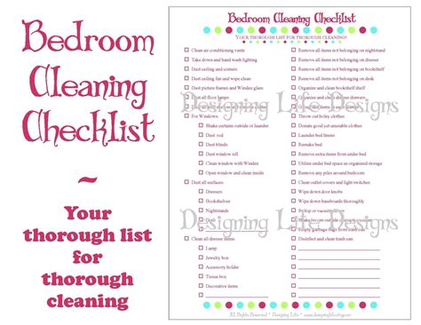 daily bedroom cleaning checklist bedroom cleaning checklist pdf printable household