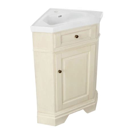 Corner Bathroom Vanity Tops Hembry Creek Richmond 26 In Corner Vanity In Parchment With Vitreous China Vanity Top In White
