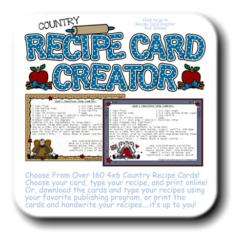 country recipe cards templates clipart for digital printables and crafts the country club