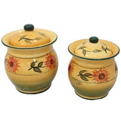 sunflower kitchen canisters sunflower garden collection handcrafted 4 piece kitchen
