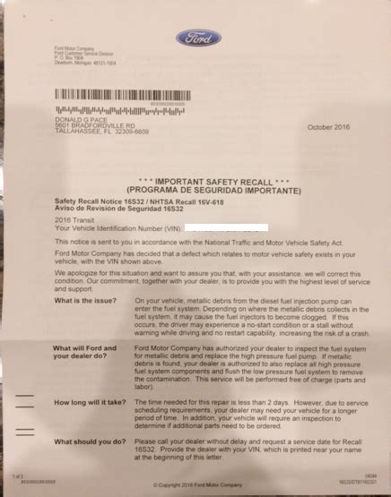 confused rver ford recall letter