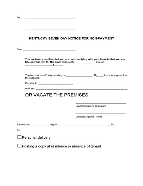 kentucky 7 day notice to quit for non payment of rent free