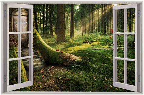 enchanted forest wall stickers details about 3d window view enchanted forest wall sticker mural decal wallpaper see