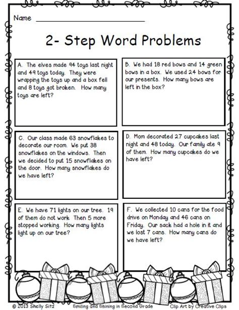 printable word problem math games 2 step word problems free christmas math for 2nd grade