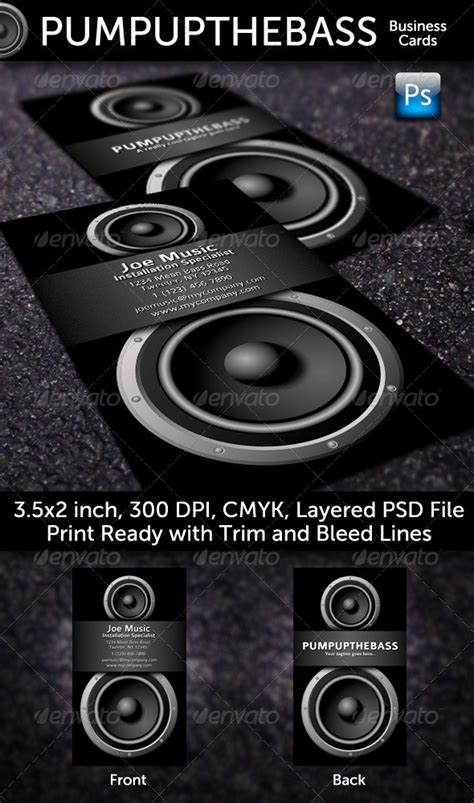 Car Audio Business Card Template by Up The Bass Business Cards Graphicriver