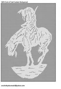 Filet Crochet Patterns For Home Decor by Item 1025 End Of The Trail Indian Filet Crochet Doily
