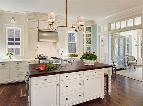 white kitchen wood island inspired white shaker cabinets vogue charleston