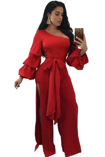 One Shoulder Jumpsuit Dress Import Bangkok womens one shoulder slit front bow ruffle flare sleeve jumpsuit melodicday