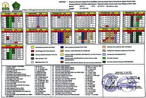 kalender pendidikan  pelajaran  provinsi aceh dunia anak indonesia