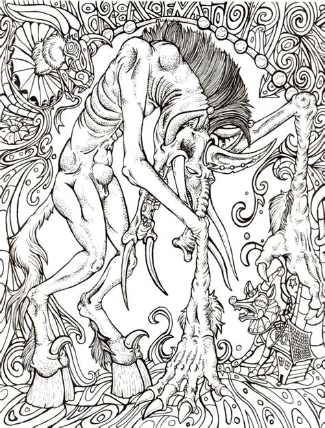 Lumbering Horror Lineart By Xxiv On Deviantart Horror Coloring Pages For Adults