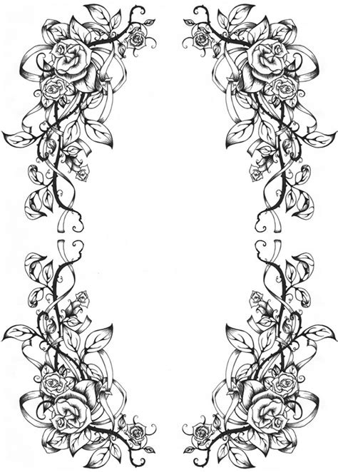 rose border coloring page rose border coloring pages