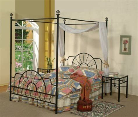Black Metal Sunburst Canopy Bed Full Size Bed Frame Ebay Black Canopy Bed Frame