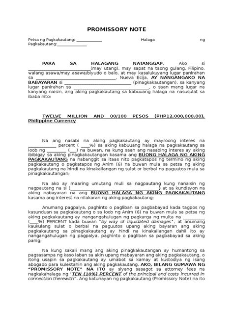 agreement letter sle tagalog promissory note tagalog sle format
