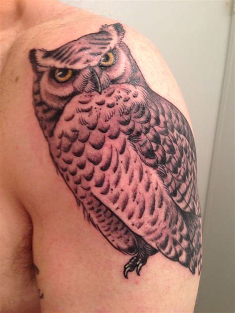 great horned owl tattoo tattoos pinterest