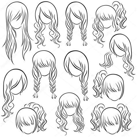 Set of teenage girl hairstyles ? Stock Vector © natreal #52783707