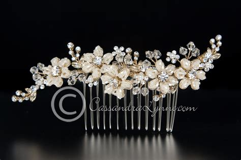 gold bridal comb seed bead and crystals