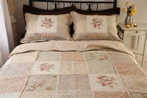 Cotton Quilts And Bedspreads Country Floral Patchwork Quilted Cotton Coverlet