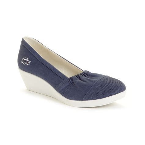 lacoste arlesia wedge sneakers in blue lyst