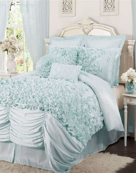 Pretty Bed Sets Ruffled Comforter Blue And Comforter On Pinterest