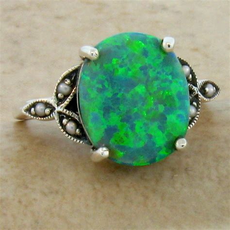 green lab opal seed pearl antique style 925