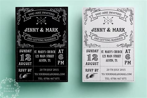 Wedding Card Designs Black And White by Retro Wedding Invitation Template Printable Wedding