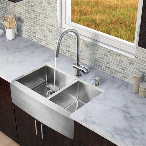 Discontinued Kitchen Sinks Vigo Vg15213 All In One 33 Stainless Steel Bowl Kitchen Sink And Vg02008 Stainless Steel
