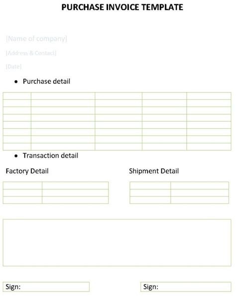 Purchase Receipt Template by Purchase Invoice Template Invoice Template Ideas