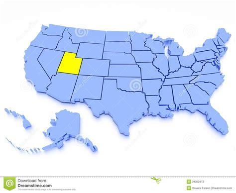 usa states map utah 3d map of united states state utah stock photography
