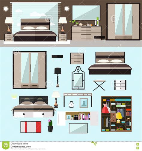 design elements in a home bedroom interior in flat style vector illustration house