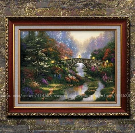 home interior framed art thomas kinkade prints original painting stillwater bridge garden canvas prints landscape