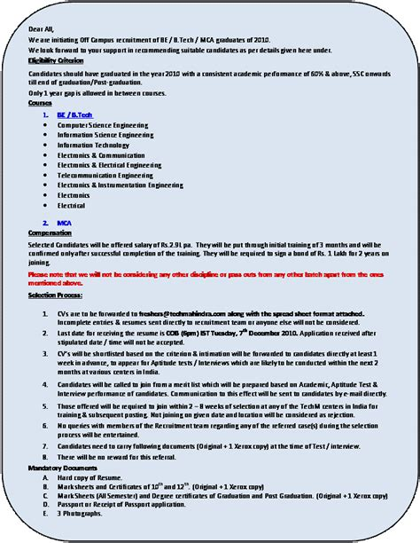 resume format for application for freshers tech mahindra openings for freshers 2010 cus