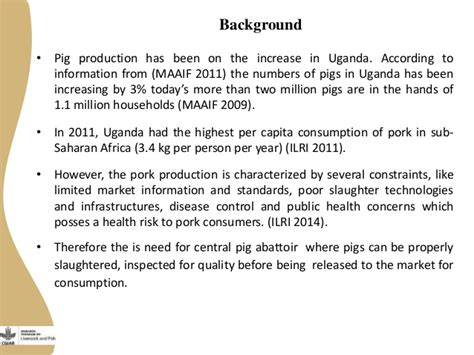 sle business plan on pig farming business plan for a centralized pig abattoir in masaka uganda