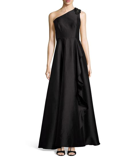 beaded one shoulder gown papell beaded one shoulder ruffle drape gown