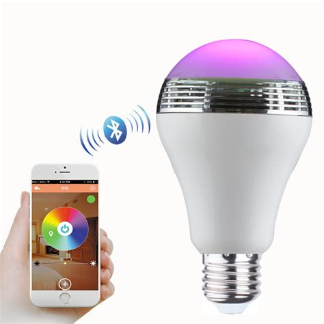 Led Light Bulb Controlled By Phone Led Bluetooth Speaker L Bulb Mobile Phone App Colorful Dimming Light