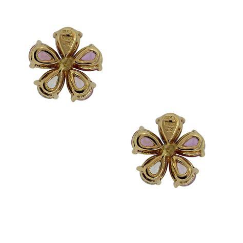 flower design diamond earrings bulgari sapphire and diamond flower stud earrings