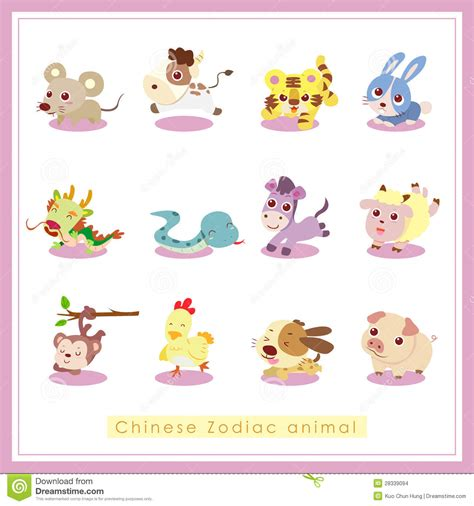 new year order animals 12 zodiac animal stickers stock images