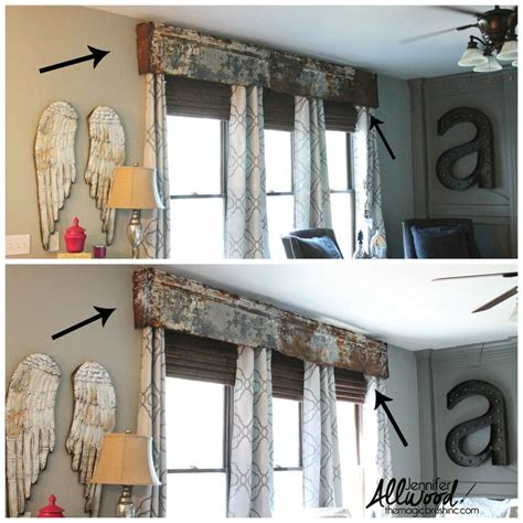 Valance For Blinds We Made A Repurposed Cornice Board From Old Rusty Tin