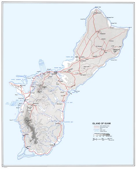 printable road map of guam guam map map of guam nations online project guam map