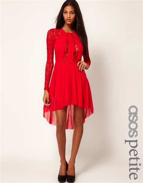 Vintage Lace Insert High Low Dress asos lace insert skater dress with high low hem in lyst