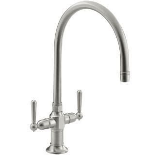 kohler hirise deck mount 12 in 2 handle high arc bridge kohler industrial kitchen faucet kohler revival double