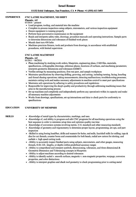 cnc machinist resume template cnc lathe machinist resume sles velvet