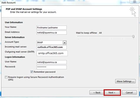 configure outlook 2013 for imap its
