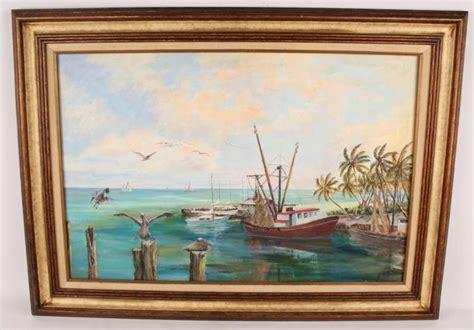 boat canvas florida keys j barnhill fl key west shrimp boat oil on canvas