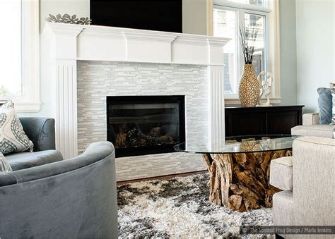 white glass marble tile fireplace for the home