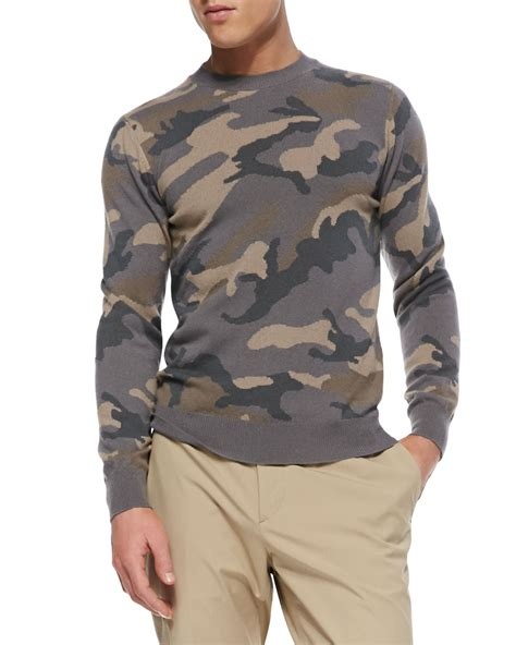 Sweater Valentino Valentino Camo Crewneck Sweater In Gray For