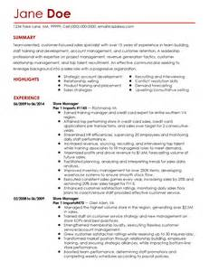Retail Sales Specialist Sle Resume by Professional Retail Sales Specialist Templates To Showcase Your Talent Myperfectresume