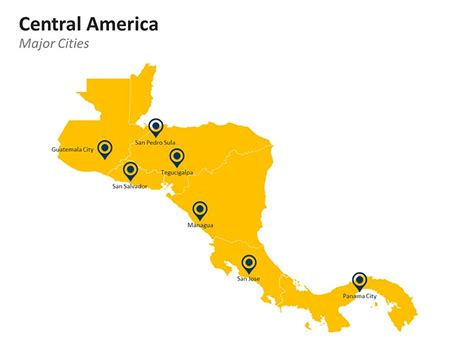 map of central america with major cities central america powerpoint map editable vector ppt