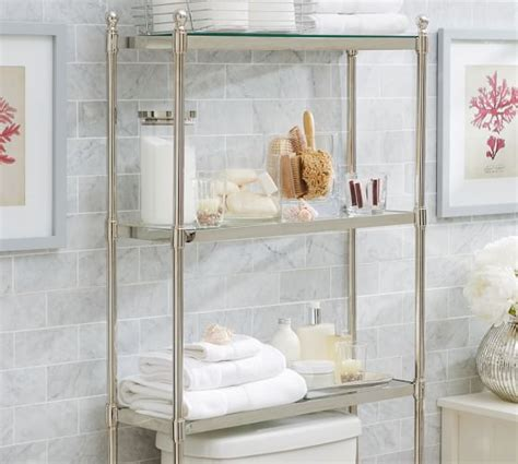 pottery barn bathroom shelves metal over the toilet etagere pottery barn
