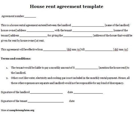 rental house agreement template printable sle simple room rental agreement form