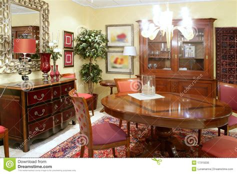 No Chandelier In Dining Room Classic Living Room Table Warm Wood Furniture Royalty Free